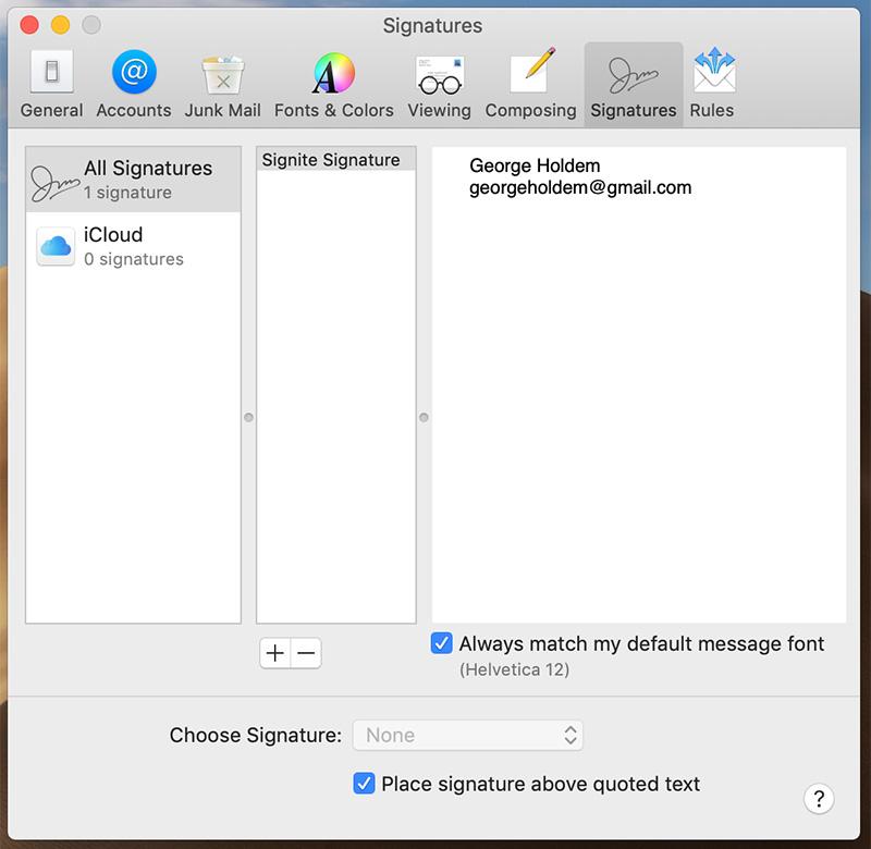 Signatures window in Apple Mail